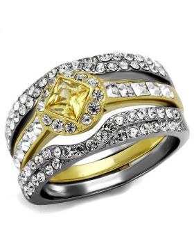 Ring Stainless Steel Two-Tone IP Gold (Ion Plating) AAA Grade CZ Topaz
