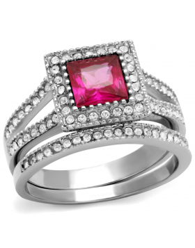 Ring Stainless Steel High polished (no plating) AAA Grade CZ Ruby