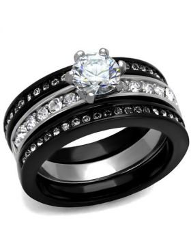 Ring Stainless Steel Two-Tone IP Black (Ion Plating) AAA Grade CZ Clear