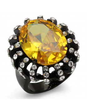 Ring Stainless Steel IP Black(Ion Plating) AAA Grade CZ Topaz