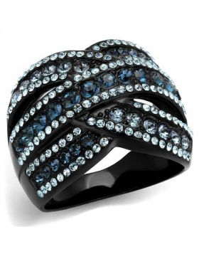 Ring Stainless Steel IP Black(Ion Plating) Top Grade Crystal Montana