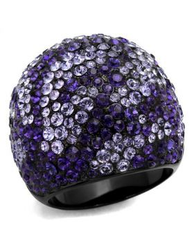 Ring Stainless Steel IP Black(Ion Plating) Top Grade Crystal Tanzanite