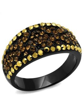 Ring Stainless Steel IP Black(Ion Plating) Top Grade Crystal Multi Color