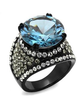 Ring Stainless Steel IP Black(Ion Plating) AAA Grade CZ London Blue Round