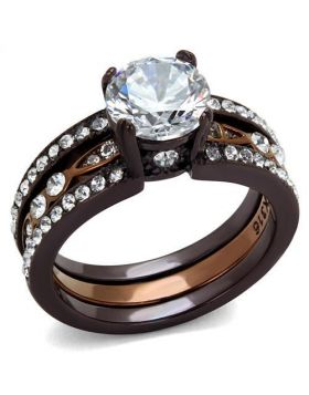 Ring Stainless Steel IP Dark Brown (IP coffee) & IP light Coffee AAA Grade CZ Clear Round