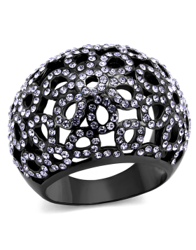 Ring Stainless Steel IP Light Black  (IP Gun) Top Grade Crystal Tanzanite
