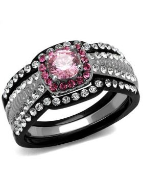 Ring Stainless Steel Two-Tone IP Black (Ion Plating) AAA Grade CZ Light Rose Round