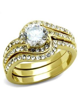 Ring Stainless Steel IP Gold(Ion Plating) AAA Grade CZ Clear Round