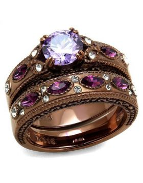 Ring Stainless Steel IP Coffee light AAA Grade CZ Amethyst Round