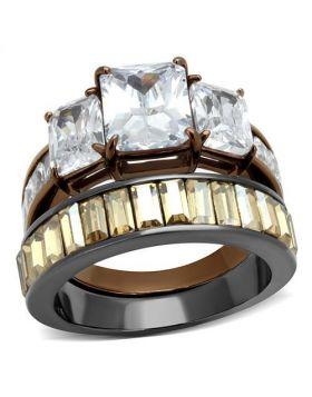 Ring Stainless Steel IP Light Black & IP Light coffee AAA Grade CZ Clear Oblong