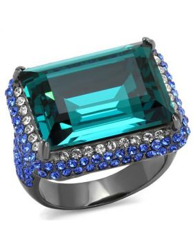 Ring Stainless Steel IP Light Black  (IP Gun) Top Grade Crystal Blue Zircon