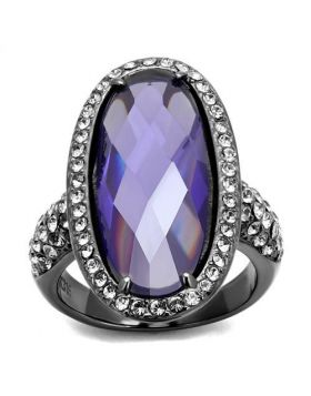 Ring Stainless Steel IP Light Black  (IP Gun) AAA Grade CZ Tanzanite