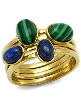 Ring Stainless Steel IP Gold(Ion Plating) Synthetic Emerald MALACHITE