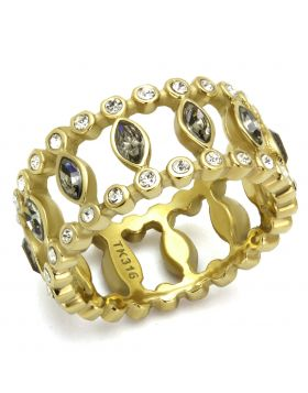 Ring Stainless Steel IP Gold(Ion Plating) Top Grade Crystal Black Diamond