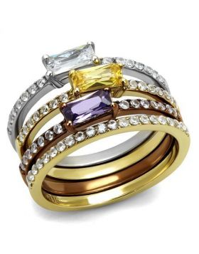 Ring Stainless Steel Three Tone IP?IP Gold & IP Light coffee & High Polished) AAA Grade CZ Multi Color