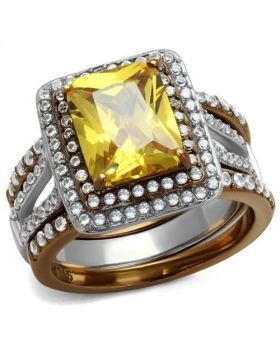 Ring Stainless Steel Two Tone IP Light Brown (IP Light coffee) AAA Grade CZ Topaz