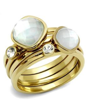 Ring Stainless Steel IP Gold(Ion Plating) Synthetic White Synthetic Glass