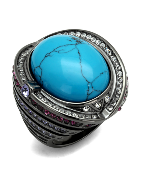 Ring Stainless Steel IP Light Black  (IP Gun) Synthetic Sea Blue Turquoise
