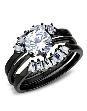 Ring Stainless Steel IP Black(Ion Plating) AAA Grade CZ Clear Round