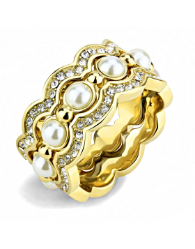Ring Stainless Steel IP Gold(Ion Plating) Synthetic White Pearl