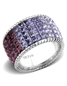 Ring Stainless Steel High polished (no plating) Top Grade Crystal Multi Color