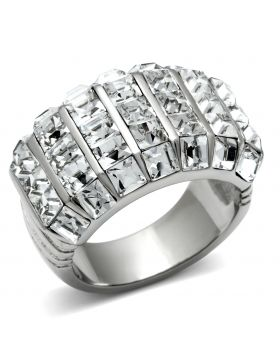 Ring Stainless Steel High polished (no plating) Top Grade Crystal Clear