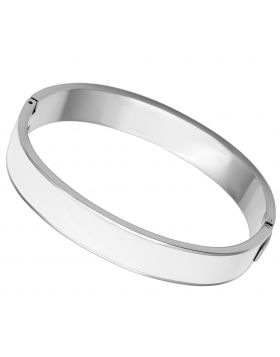 Bangle Stainless Steel High polished (no plating) Epoxy White