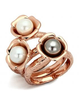 Ring Stainless Steel IP Rose Gold(Ion Plating) Synthetic Multi Color Glass Bead