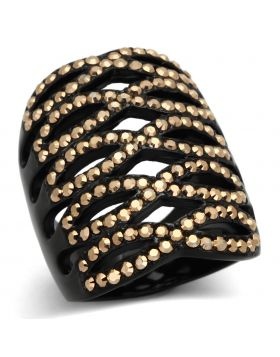 Ring Stainless Steel IP Black(Ion Plating) Top Grade Crystal Metallic Light Gold