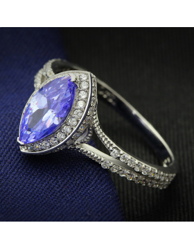 Ring 925 Sterling Silver Rhodium AAA Grade CZ Tanzanite