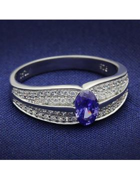 Ring 925 Sterling Silver Rhodium AAA Grade CZ Tanzanite Oval