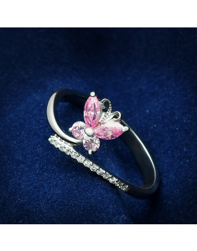 Ring 925 Sterling Silver Rhodium AAA Grade CZ Light Rose