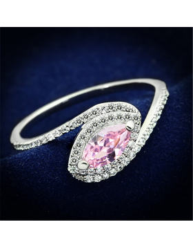 Ring 925 Sterling Silver Rhodium AAA Grade CZ Rose
