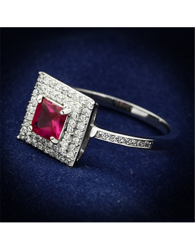 Ring 925 Sterling Silver Rhodium Synthetic Ruby Corundum