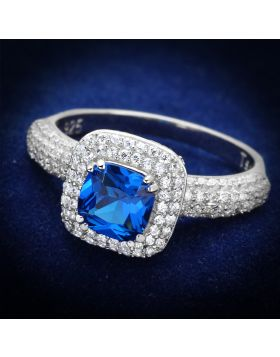 Ring 925 Sterling Silver Rhodium Synthetic London Blue Spinel