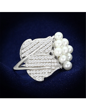 Ring 925 Sterling Silver Rhodium Synthetic White Pearl