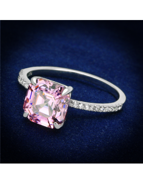 Ring 925 Sterling Silver Rhodium Cubic Rose