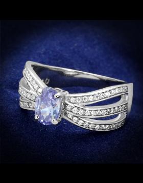 Ring 925 Sterling Silver Rhodium AAA Grade CZ Light Amethyst
