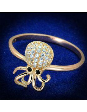 Ring 925 Sterling Silver Rose Gold AAA Grade CZ Black Diamond