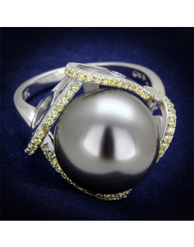 Ring 925 Sterling Silver Rhodium Synthetic Gray Pearl