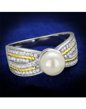 Ring 925 Sterling Silver Reverse Two-Tone Synthetic White Pearl