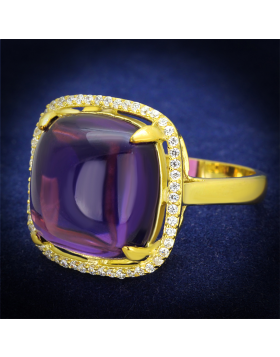 Ring 925 Sterling Silver Gold Synthetic Amethyst Synthetic Glass