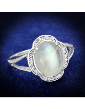 Ring 925 Sterling Silver Rhodium Semi-Precious Clear Moon Stone