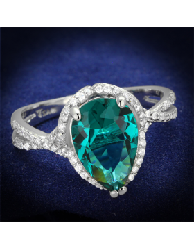 Ring 925 Sterling Silver Rhodium Synthetic Blue Zircon Synthetic Glass