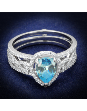Ring 925 Sterling Silver Rhodium AAA Grade CZ Sea Blue
