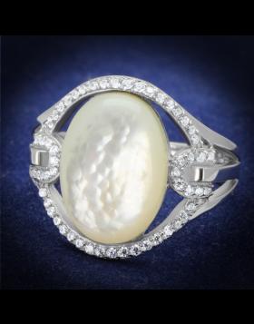 Ring 925 Sterling Silver Rhodium Precious Stone White Conch