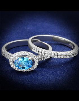 Ring 925 Sterling Silver Rhodium AAA Grade CZ Sea Blue