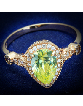 Ring 925 Sterling Silver Rose Gold AAA Grade CZ Apple Green color Pear