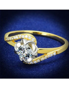 Ring 925 Sterling Silver Gold+Rhodium AAA Grade CZ Clear