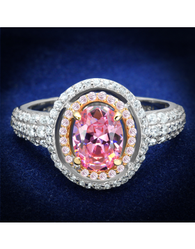 Ring 925 Sterling Silver Rose Gold + Rhodium AAA Grade CZ Rose